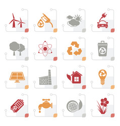 Stylized ecology environment and recycling icons vector