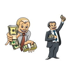 Successful businessman characters with money vector image