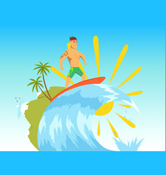 surfer riding wave in vector image