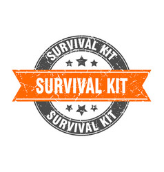 Survival kit round stamp with ribbon label sign vector