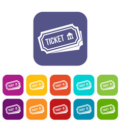 Ticket icons set vector