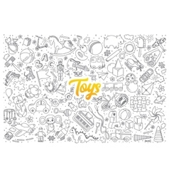 Toys doodle set with lettering vector