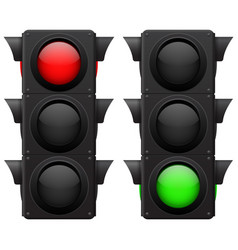 Traffic lights red green vector