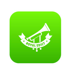 trumpet icon green vector image