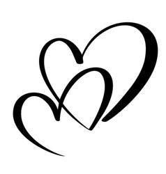 two lovers heart handmade calligraphy vector image