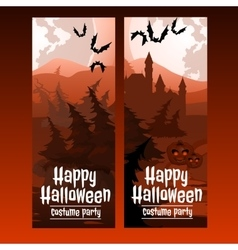 Two vertical cards with the spooky forest vector image