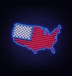 usa map and flag neon sign usa map symbol vector image