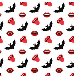 vampire mouth and bat vector image