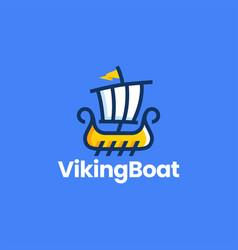 Viking sail boat playful cartoon logo icon vector