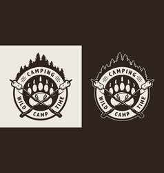 vintage camping monochrome round badge vector image