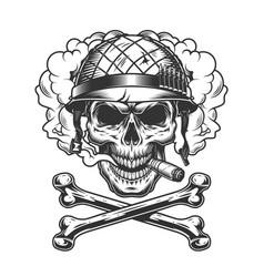 Vintage monochrome skull wearing soldier helmet vector