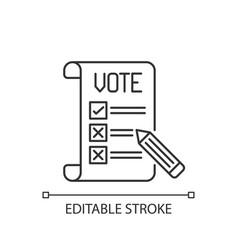voting ballot linear icon vector image