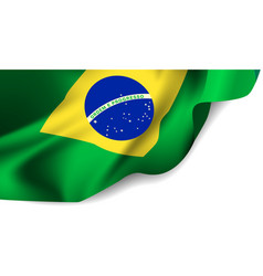 Waving flag brazil south america vector