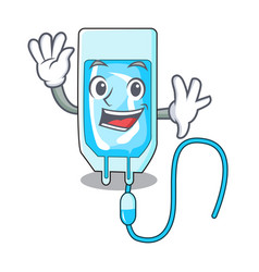 Waving infussion bottle character cartoon vector