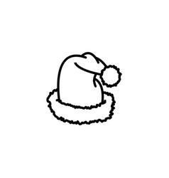web line icon hat santa claus black on white vector image