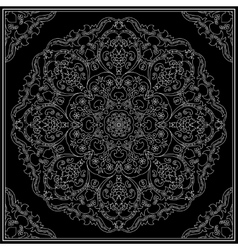 White ornament on black background vector