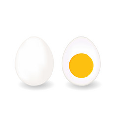 whole egg and half hard boiled one vector image