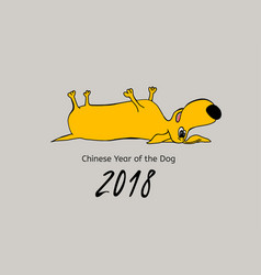 yellow dog poatcard vector image