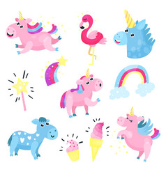 cute unicorns with set collection with rainbow vector image