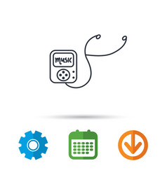 music player icon songs portable device sign vector image