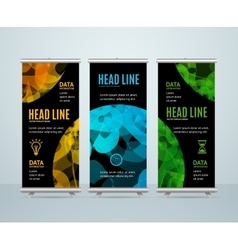 Roll Up Banner Template with Abstract Sphere vector image vector image