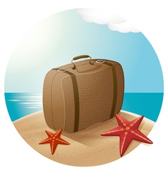 Suitcase At The Sea Beach vector image