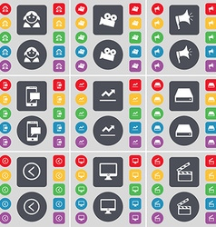Avatar Film camera Megaphone SMS Graph Hard drive vector image vector image