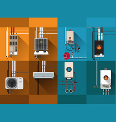 cooling and heating systemsgas boiler and air con vector image