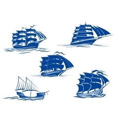 Medieval sailing ships icons vector image