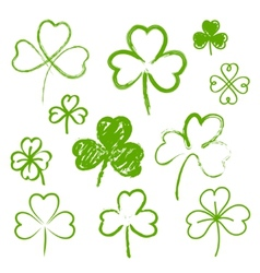 Set of hand drawn clovers vector image