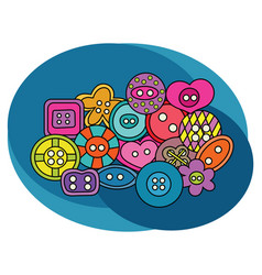 sewing buttons design set vector image vector image
