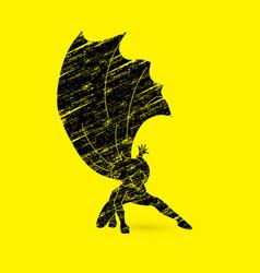 strong woman superhero landing power action vector image vector image