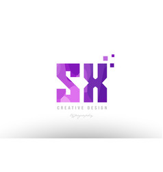sx s x pink alphabet letter logo combination with vector image vector image