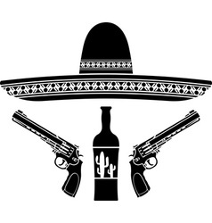 tequila sombrero and two pistols vector image vector image