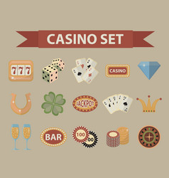 casino icons vintage style gambling set isolated vector image vector image