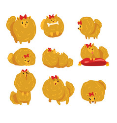 cute funny pomeranian dog character in different vector image