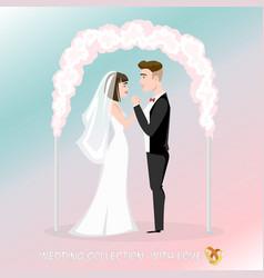 groom with bride under the wedding arch vector image