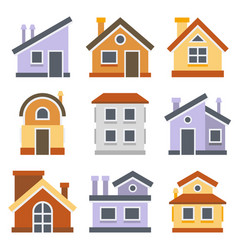 houses set flat style design vector image vector image