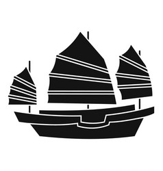 junk boat icon simple style vector image vector image