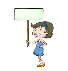 a girl with sign board vector image