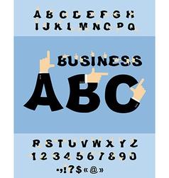 Business hand font pointing finger alphabet vector