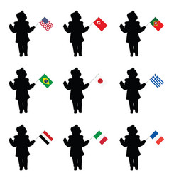 child silhouette holding the flags vector image
