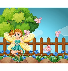 Fairy and butterflies in the park vector image vector image