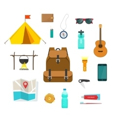 Tourist backpack with camping hiking things vector image