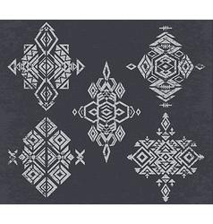 Tribal pattern elements on grunge background vector image