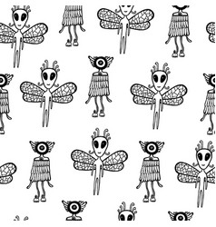 ufo alien seamless pattern hand drawn coloring vector image