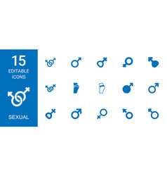 15 sexual icons vector image