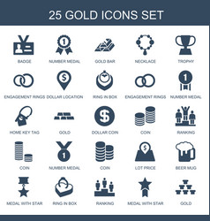 25 gold icons vector