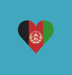 afghanistan flag icon in a heart shape in flat vector image