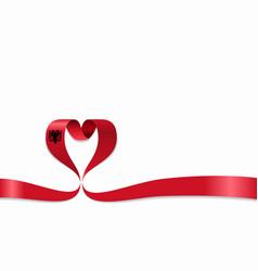 Albanian flag heart-shaped ribbon vector